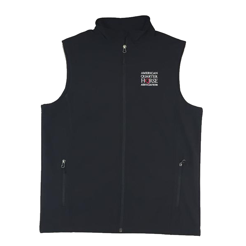AQHA Ladies Black Soft shell Vest Stacked Logo