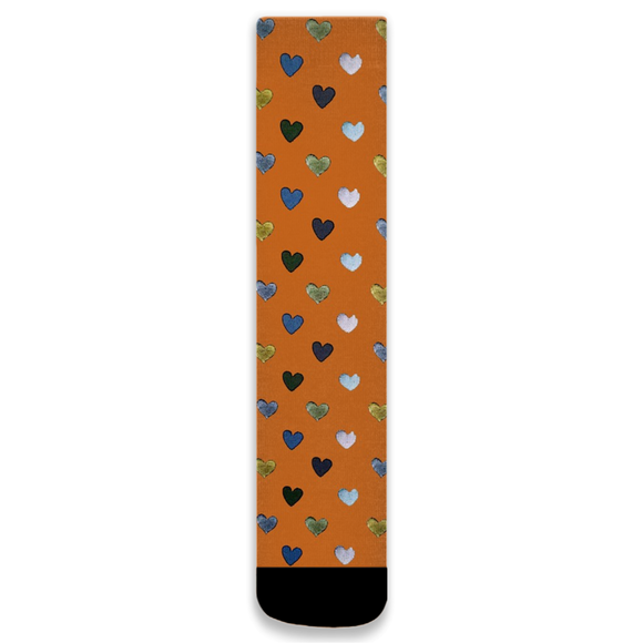 Orange Heart socks
