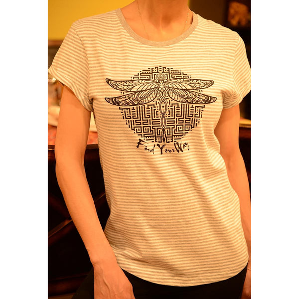 Find your way - Women's Organic Cotton Stripe T-shirt