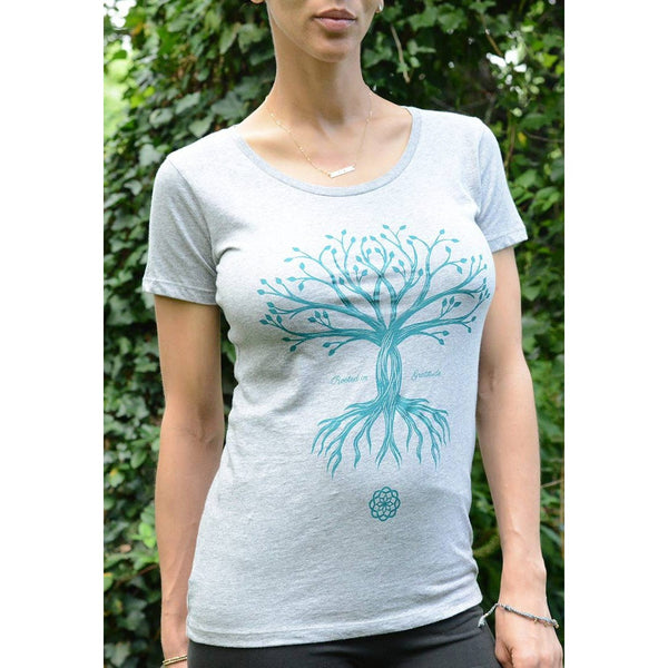 Rooted in Gratitude - Women's Scoop neck Tee - Teeminder