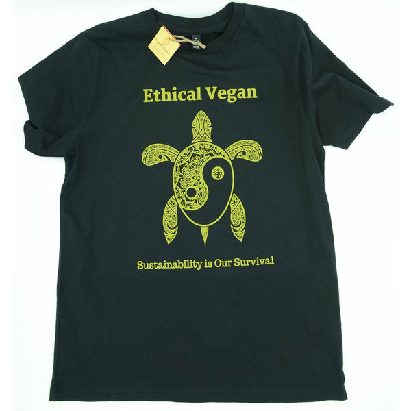 Ethical Vegan - Men's / Unisex Black Organic Cotton T-shirt - Teeminder