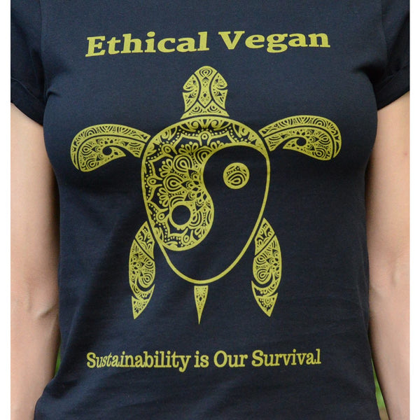 Ethical Vegan - Women's Rolled sleeves Organic Cotton T-shirt - Teeminder