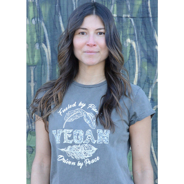Vegan - Women's Organic Cotton Rolled Sleeves T-shirt - Teeminder