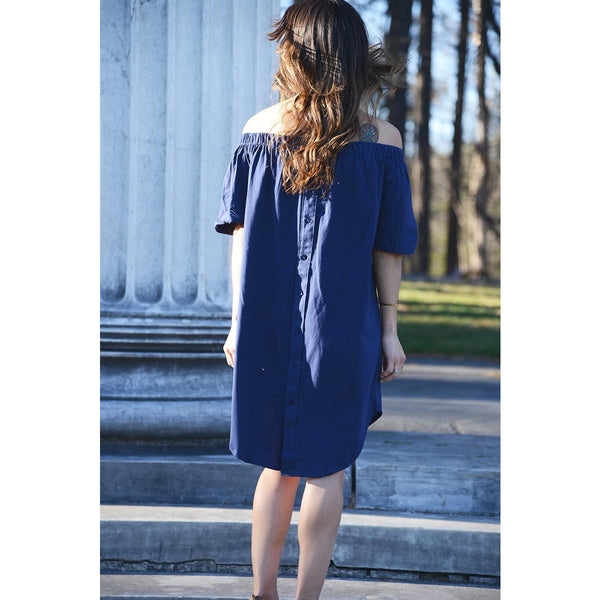 Anse Cochon - Exclusive Women's Off-the-shoulder Navy Midi Dress