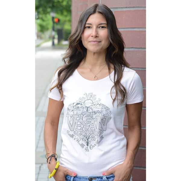 Vegan II -Women's Organic Cotton Open Neck T-shirt - Teeminder