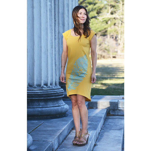 Soufrière - Exclusive Women's Rolled Sleeve Mustard Yellow Dress