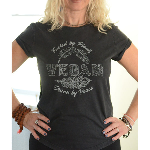 Vegan - Women's Organic Cotton Rolled Sleeves T-shirt