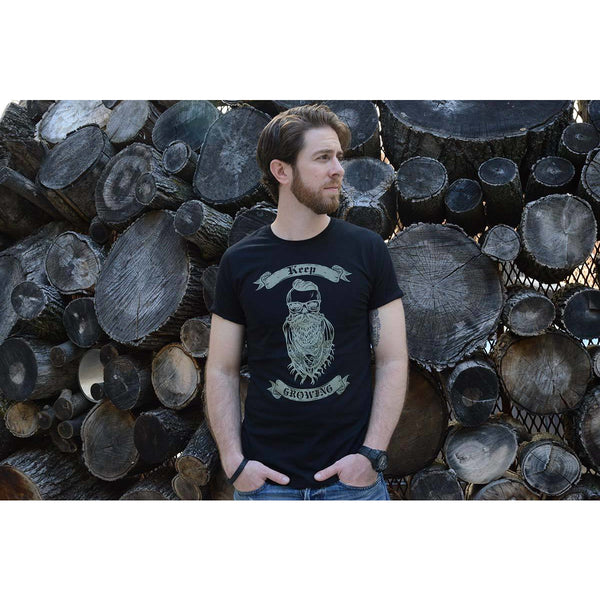 Keep Growing - Men's Black Organic Cotton T-shirt - Teeminder