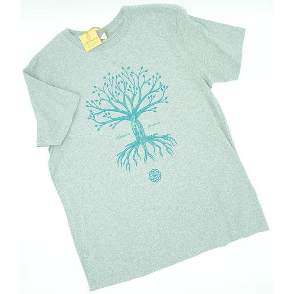 Rooted in Gratitude - Men's / Unisex Black Melange Grey Cotton T-shirt - Teeminder