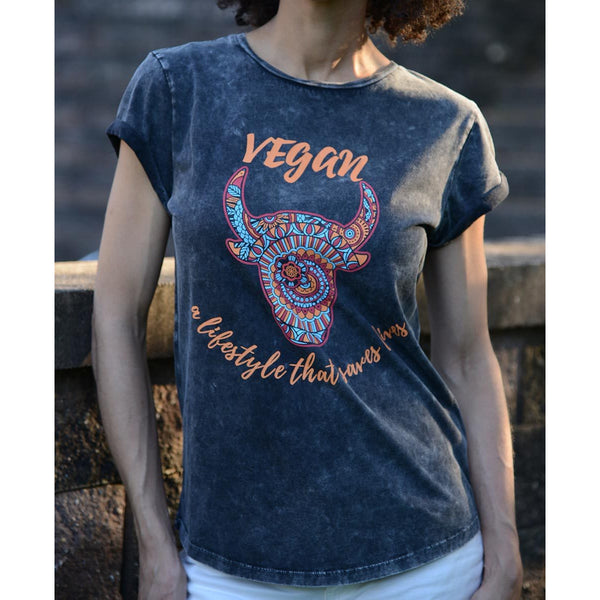 Vegan III -Women's Organic Cotton Rolled Sleeves T-shirt