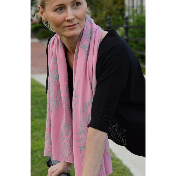 Pink peacock feather scarf - Teeminder