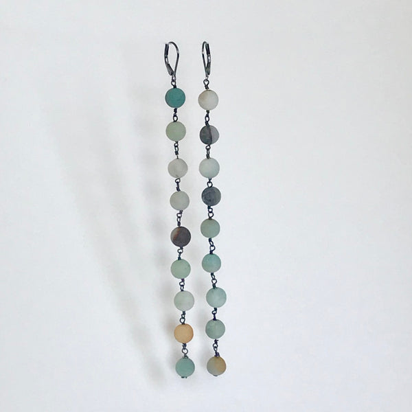 Long Drop Earrings - Black Gold Amazonite