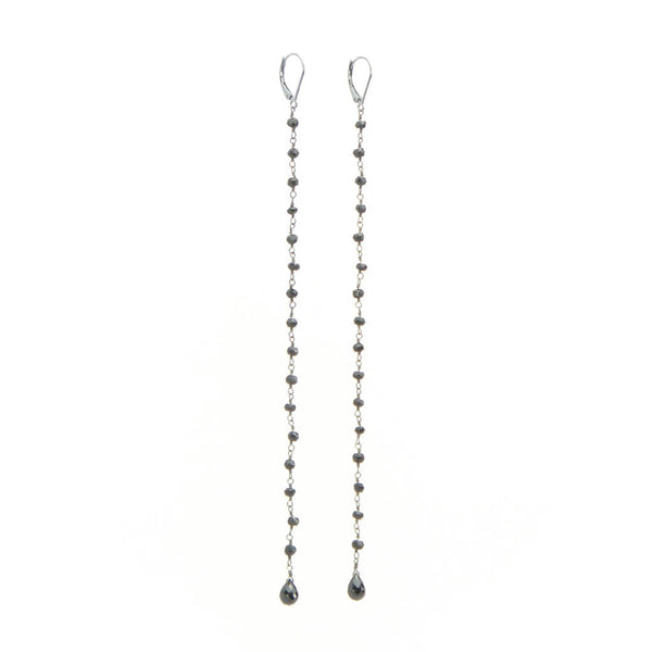 Long Drop Earring - Black Gold