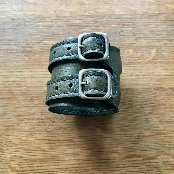 Olive Green Leather Cuffs