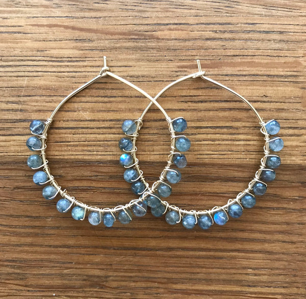 Beaded Hoops - Gold