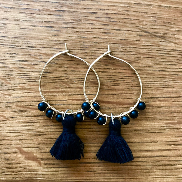 Small Tassel Hoops - Gold