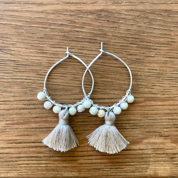 Small Tassel Hoops - Silver