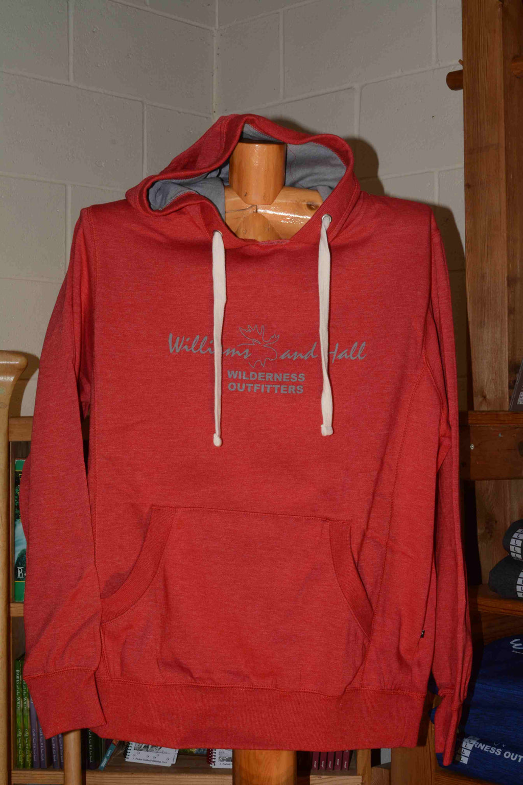 Red Sweatshirt featuring Williams and Hall Outfitters logo
