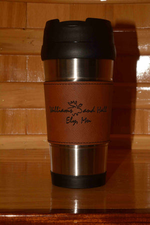 Leather wrapped Travel Coffee Mug
