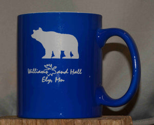 Williams and Hall Outfitters Bear logo coffee mug
