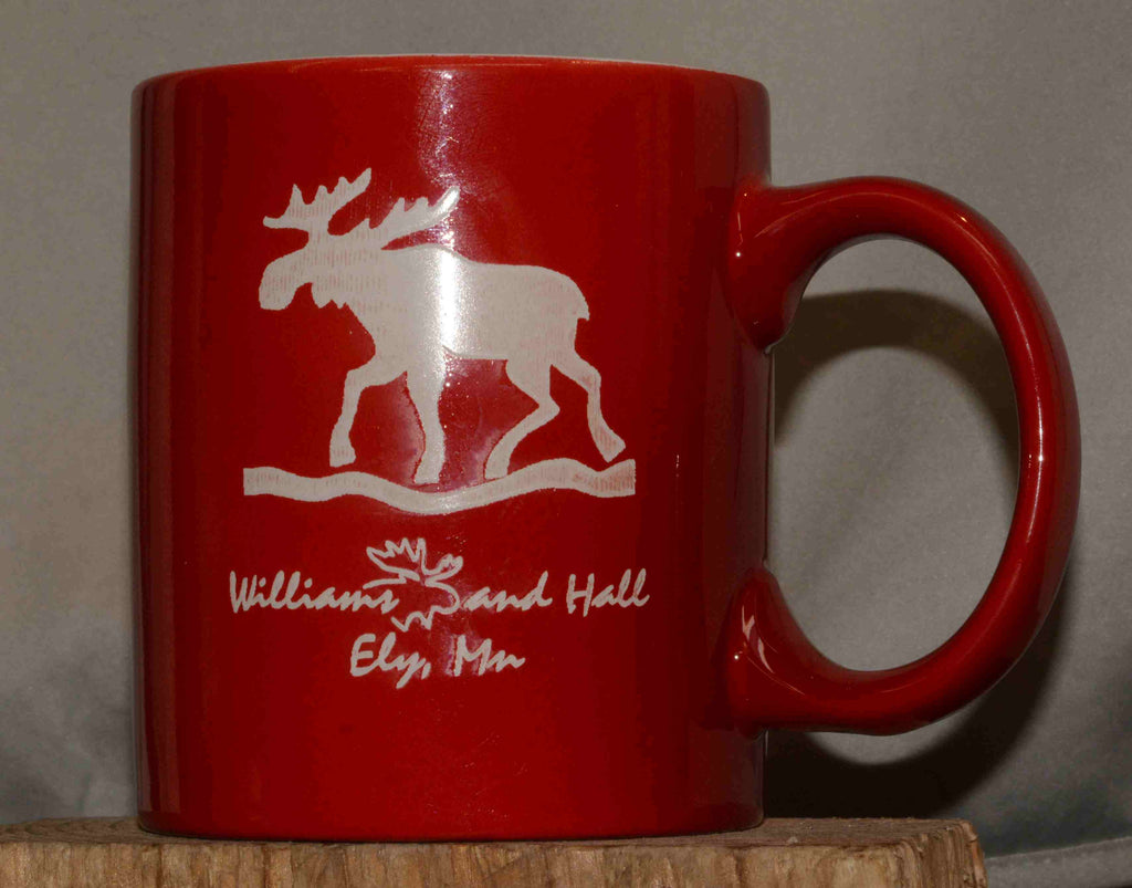 Williams and Hall Outfitters Moose logo coffee mug