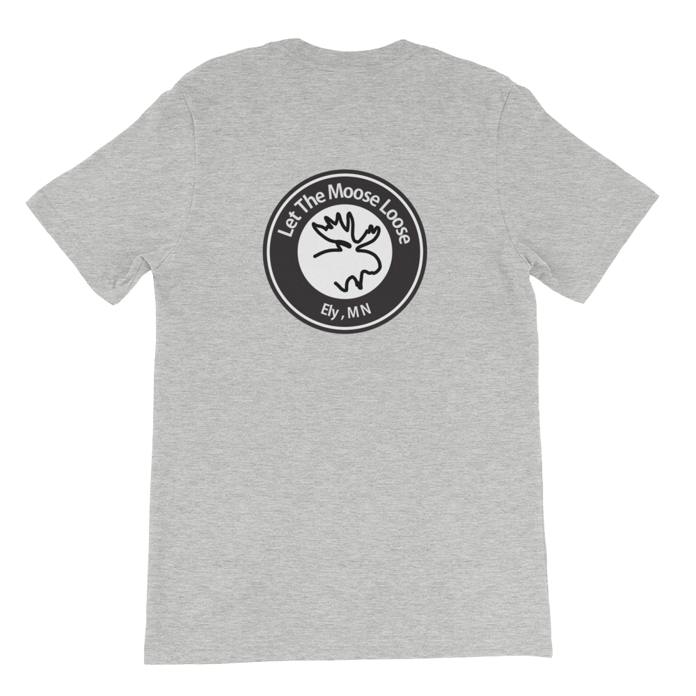 Trek On. Be Free. Unisex short sleeve t-shirt with Williams and Hall banner on the front and Moose Logo on the back.