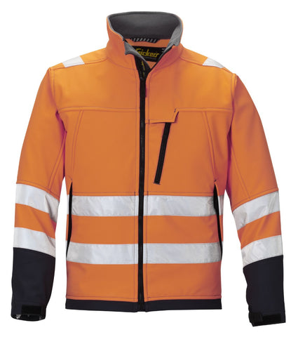 """Snickers 1213 Soft Shell Jack High Visibility, Klasse 3"""