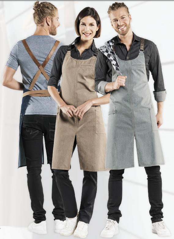Chaud Devant Bib Apron Forene CROSS Grey Denim 63399