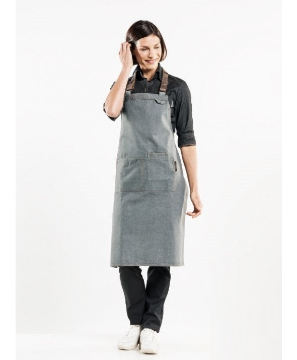 Chaud Devant Bib Apron Forene Grey Denim 63599