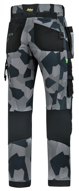 Snickers 6902 FlexiWork werkbroek met holsterzakken Grey Camo Black