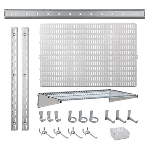 21 Pc. Garage Organizer Wall Storage System with Pegboard, Hooks and Hangers