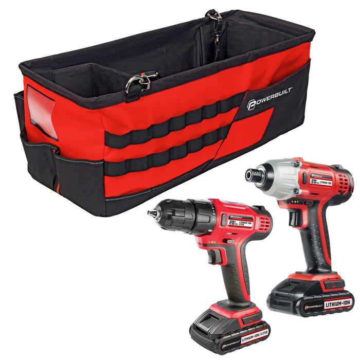 20V Cordless Impact Driver and 20V Cordless Drill Combo Kit with Tool Bag