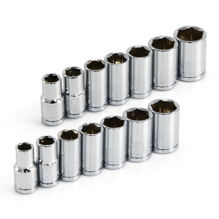 14 Piece 1/4 in. Dr. SAE & Metric 6 Pt. Socket Set