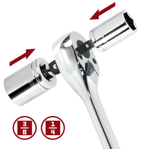Powerbuilt 1/4-Inch x 3/8-Inch Drive Dual-Head Extendable Ratchet Handle