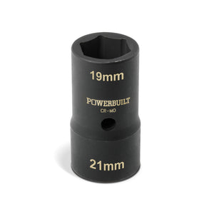 1/2 in. Dr. Double-End Metric 19mm x 21mm Lug Nut Socket