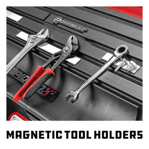26 in. Rapid Box Portable Slant Front Toolbox with Tool Magnets - Red