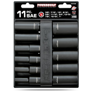 11 Piece 1/2 in. Dr. SAE Deep Impact Socket Set