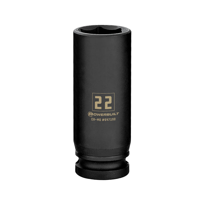 Powerbuilt 1/2 in. Drive x 22 mm 6 Point Deep Well Impact Socket - 647190