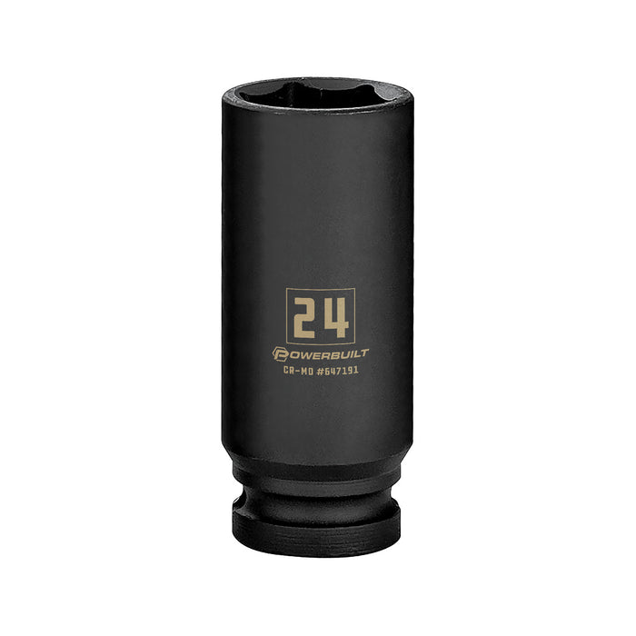 Powerbuilt 1/2 in. Drive x 24 mm 6 Point Deep Well Impact Socket - 647191