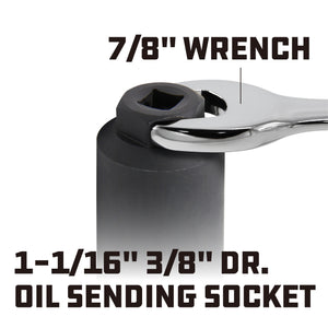 "Powerbuilt 3/8"" Drive Oil Press Sending Socket (1-1/16) - 648447"