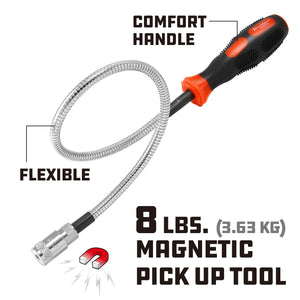 Powerbuilt 8Lb Flexible Led Magnetic Pick Up Tool - 648702M