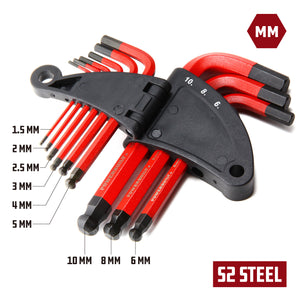 9 Piece Short Arm Metric Hex Key Wrench Set