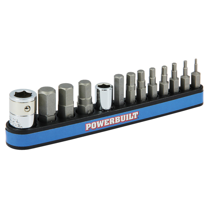 13 Piece SAE Hex Bit and Socket Adapter Set