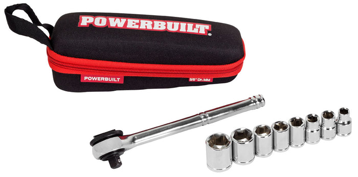 Powerbuilt 11 Piece 3/8-Inch Drive Metric Socket Set with Storage Pouch - 941159