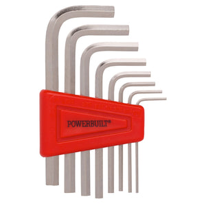"Powerbuilt 8 Piece SAE Short Arm Hex Key Wrench With Holder, 1-1/16"" to 1/4"""