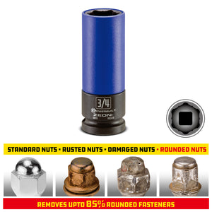 Powerbuilt 3/4 in. Zeon Lug Nut Socket Set for Damaged Lug Nuts - 941430M