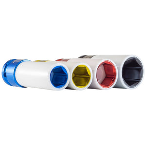 Powerbuilt 6 Piece 1/2-Inch Drive Thin Wall Color Wheel Saver Lug Nut Socket Set