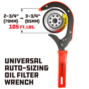 Powerbuilt Universal Auto-Sizing Oil Filter Wrench - 942006