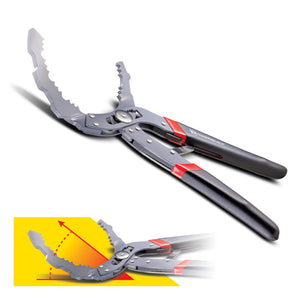 Self-Adjusting Oil Filter Pliers with 30 Degree Angled Jaws