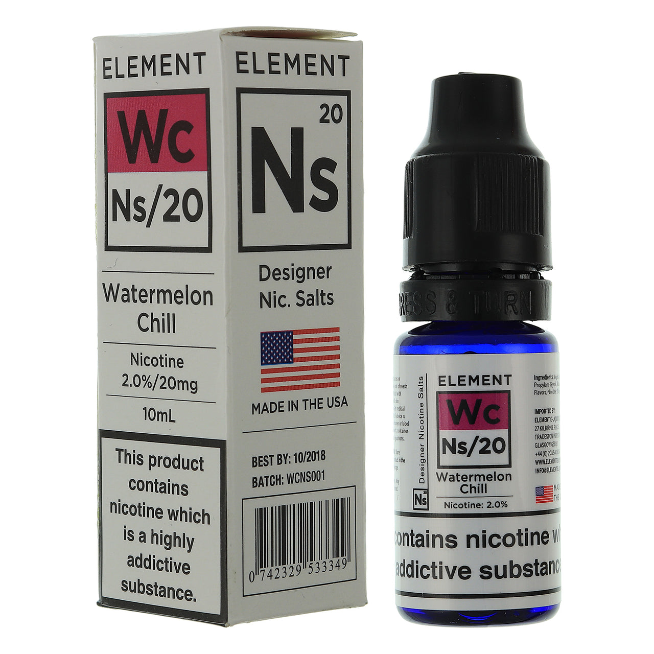 NS20 Watermelon Chill Designer Nic Salts By Element